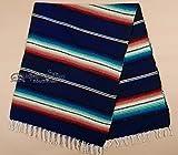 Rio Bravo Blanket -Old El Paso Mexican Serape Style Falsa Blanket -Southwestern Throw Blanket for Rustic Cabin, Lodge, Western Decor, Yoga, Travel, Sports or Wrap, 56'x74' (Navy)