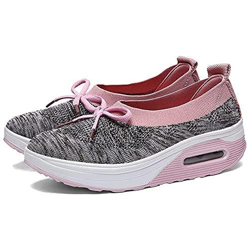 OEMINI Newly Upgraded Air Cushion Slip-on Walking Shoes Orthopedic Walking Shoes, Women s Platform Bow Knots Casual Air Sneakers (Pink,38)