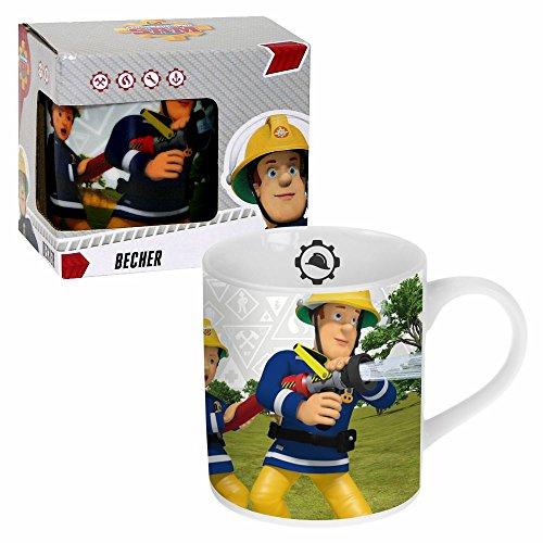 POS Handels GmbH Porzellan Tasse Team | Feuerwehrmann Sam | 200 ml | Henkel-Becher | Geschenkbox
