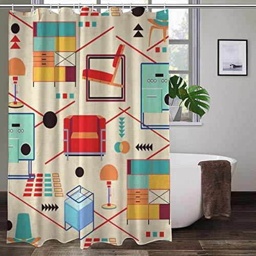 Bauhaus Mobili Tenda da doccia colorata in tessuto di poliestere con ganci 152,4 x 182,9 cm (larghezza x altezza).