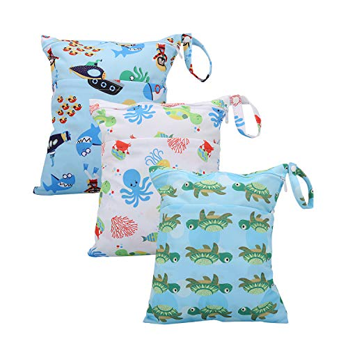 Wet Bag for Swimsuit Waterproof Reusable Bags with Two Zippered Pockets Pockets Turtle Crab Wet Dry Bag for Cloth Diapers Travel Beach Pool Yoga Gym Bag for Pump or Wet Clothes 3 pcs