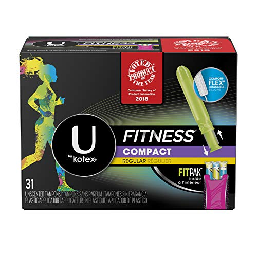 U by Kotex Fitness Tampons with FITPAK, Regular Absorbency, Fragrance-Free Tampons, 31 Count