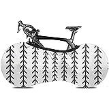 L.BAN Sweet-Heart Cubierta de Rueda de Bicicleta, Cubierta de Bicicleta Protect Gear Tire - Abstract Geometric Herringbone Classic Monoline Fishbone en Blanco y Negro