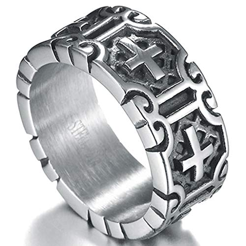 Jude Jewelers 9mm Retro Vintage Stainless Steel Cross Band Style Biker Ring (Grey, 9)