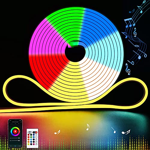 12V RGB Neon Rope Light, LED Strip Lights Alexa Compatible Silicone 16.4ft Multi-Color Changing WiFi Bluetooth Phone App Control, Dimmable Silicone IP23 Waterproof for Party DIY(Cuttable)
