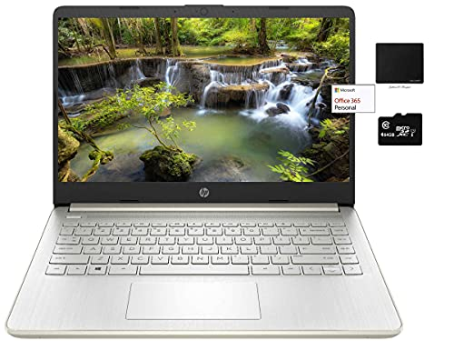"""Newest HP 14"""" Thin Light Laptop, Intel 2-Core N4020, 8GB RAM, 128GB Storage(64GB eMMC+64GB Micro SD), Webcam, 1-Year Office, Google Classroom or Zoom, Win 10 Bundle with GalliumPi Mousepad (Pale Gold)"""