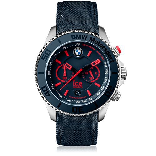 Ice-Watch - BMW Motorsport (steel) Blue Red - Reloj blu para Hombre con Correa de cuero - 001126 (Extra large)