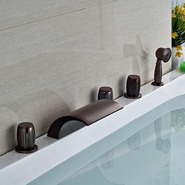 Gute Qualitt 5 Stück Deck Mount Wasserfall Badewanne Füller drei Griffe l eingerieben Bronze Whirlpool Mischbatterien