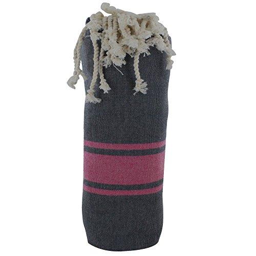 LES POULETTES Handtuch Cotton Fouta Hammam oder Strand Dunkelblau Farbe Fuchsie Streifen
