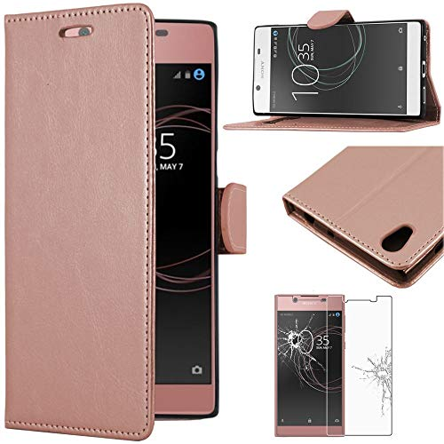 ebestStar - kompatibel mit Sony Xperia L1 Hülle L1 Dual Kunstleder Wallet Hülle Handyhülle [PU Leder], Kartenfächern, Standfunktion, Pink Gold + Panzerglas Schutzfolie [Phone: 151 x 74 x 8.7mm, 5.5'']