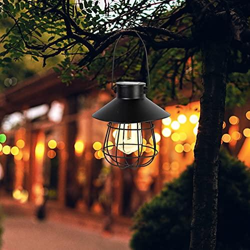 Farol solar para exterior, luz cálida LED, decoración de jardín, colgante vintage, de metal, lámpara solar para la decoración de la lámpara exterior