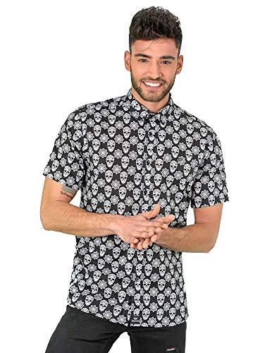 DIVARO - Camisa Estampado Calaveras Manga Corta Color Negro - para Hombre (L)