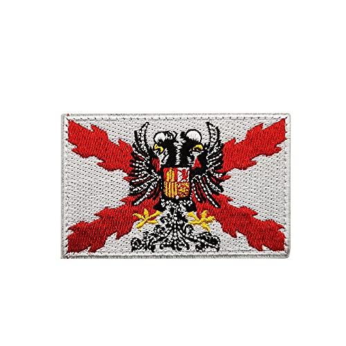 Parche de la bandera de España Tercio Morados Viejos Burdeos Bandera del Ejército Español Bandera Militar Insignia Bordada Brazalete Emblema Moral Applique para gorras Bolsos Chalecos Uniformes