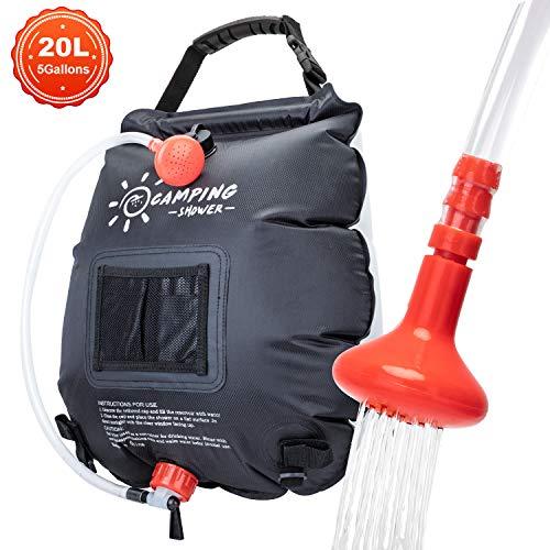 VIGLT Camping Shower Bag 5 Gallons/20L Solar Solar Shower Bag Heating with...