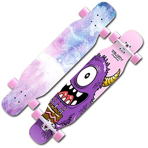 Longboard Skateboard Drop Through Cruiser Komplettboard, High Speed ABEC-11 Kugellagern, Drop-Through Freeride Skaten Cruiser Boards, für Anfänger & Pro, Es ist auch die beste Wahl als Geschenk,C