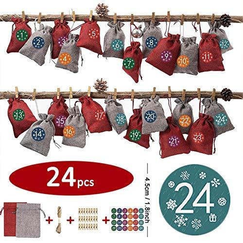 Sue-Supply Advent kalender voor het vullen van 24 stuks Jute tas Kerstkalender Countdown tas DIY ambachtelijke geschenktas met koord voor sieraden gunsten rijkelijk waarde