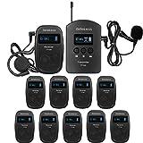 Retekess TT103-TT104 Sistema de Guía Tour Guide System Micrófono Guía Recargable para Traducción Formación Reunión Recepción Enseñenza Colegio Aprender Formación (1 Transmisor + 10 Receptores)