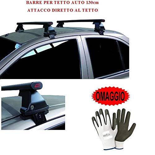 Compatible con Peugeot 307 5p (2001-) (68.003) Barras portaequipajes para techo de coche con enganche recto barra 130 cm de acero techo sin realing + kit de montaje