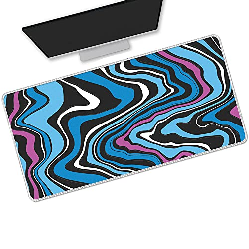 Gaming Mouse Pads Strata Liquid Blue Cool Gaming Mouse Pad Large Long Computer Pad Waterproof Easy Clean Laptop Desk Pad Protector 900x400Mm/Xxl