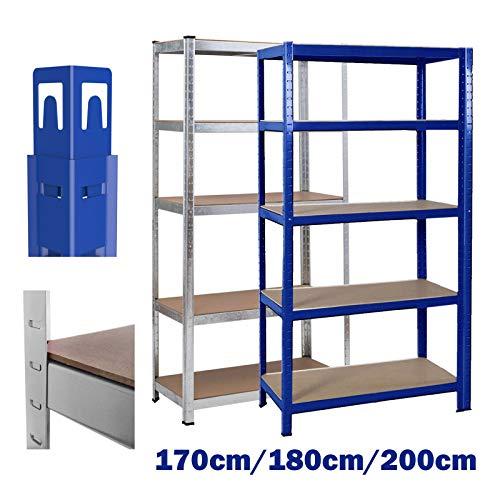 Lagerregal Garage Metallregal 200x100x50cm Schwerlastregal max. mit 875 kg belastbar Einstellbar Kellerregal Steckregal -Blau
