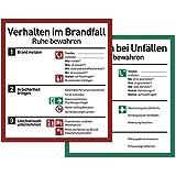 Verhalten im Brandfall und bei Unfällen (Schilder Set - 18x20cm) - Plakat für Büro und Betrieb nach ISO 7010 - Erste Hilfe Schild für Brand und Unfall - Aushang Notfallplan für Brandschutz
