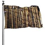 PQU Awesome Outdoor Yard Flag,Eichen-Scheunen-Abstellgleis-Tür Gebrochene Verrostete Scharnier-Garten-Flaggen-Polyester-Flaggen-Fahnen Für Garten-Yard 90x150cm
