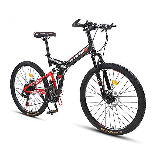 Bike 26 Inch Folding Mountain Men's And Women's Front And Rear Double Shock Absorption Bicycle 24 Speed Adult Double Disc Brake Mountain Bicycles Eight Piece Positioning Tarun Black Red