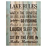 P. Graham Dunn Lake Rules Relax Unwind Fishing Memories 16 x 12 inch...