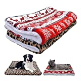 AINOLWAY Dog Bed Mat Warm Winter Puppy Cat House Kennel Small Medium Large Dogs Beds Christmas Sleeping Blanket Snowflake Print (S(50x32cm), Christmas elk)