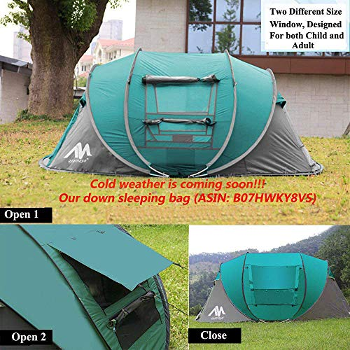 Camping Tents 3-4 Person/People Easy Up Instant Setup, Camping Gear Waterproof 2 Doors Privacy Automatic Pop Up Big Family Dome Tent Shelter for Men Women Adults - Light Blue