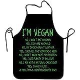 BK Creativity Latzschürze,Green Word I 'M Vegan Kitchen Schürzen Lange Krawatte Einstellbare Latzschürze Adult' S Schürzen Zum Kochen Backen Grillen 52X72Cm
