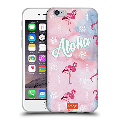 Head Case Designs Oficial Emoji Aloha Flamingos Carcasa de Gel de Silicona Compatible con Apple iPhone 6 / iPhone 6s
