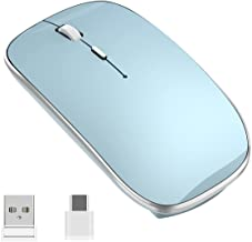 Wireless Mouse Chargeable Silent Mouse 2.4G Portable Mobile Optical Office Mice with USB & Type-c Receiver for Windows Mac...