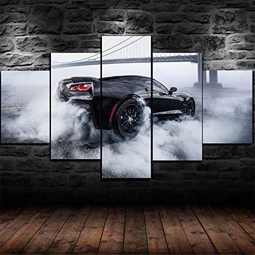 KOPASD Cuadro En Lienzo Póster Coche Corvette Burnout 150X80Cm Impresión De 5 Piezas Material Tejido No Tejido Impresión Artística Imagen Gráfica Decoracion