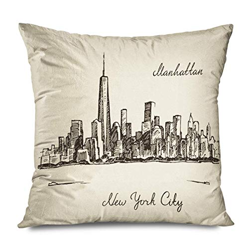 Throw Pillow Cover Decorative Square 18x18 Skyline Manhattan Cityscape New York United States Architecture Parks Sketch NYC City Draw Doodle Zippered Pillowcase Home Decor Cushion Case 16\ X 16\(IN)