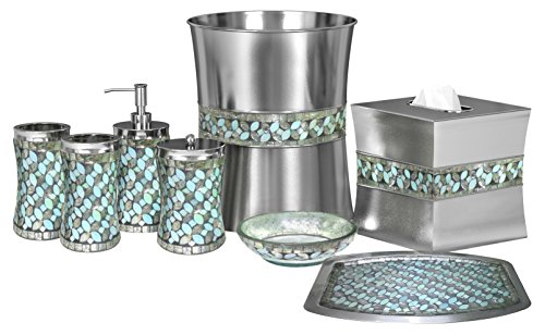 nu steel nusteel Sea Foam Bath Accessory Set for Vanity Countertop, 8 pc Luxury Ensemble-Cotton Swab, Dish,Toothbrush Holder,Tumbler,soap Pump,Wastebasket,Tissue Box,Tray, Mosaic Glass/stainless steel