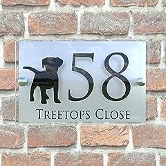 MODERN DECORATIVE DOG PUPPY HOUSE SIGN PLAQUE DOOR NUMBER STREET GLASS EFFECT ACRYLIC ALUMINIUM NAME DECA5-28B-S-C-D1 #4