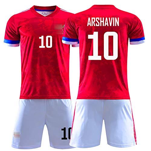 Herren Fußballuniform, 2020 Europapokal Russisches Auswärtstrikot für Kokorin 9# Arshavin 10# Kerzhakov 11# Fußballuniformen Trikot + Shorts weiches und bequemes bestes Geschenk-10#-S