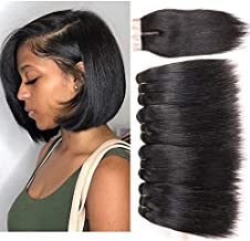 Peiyulex Brazilian Straight Hair 4 Bundles with Closure 9A Grade Unprocessed Virgin Brazilian Human Hair Weave Bundles with top Lace Closure Natural Black Color (8 8 8 8 closure8)