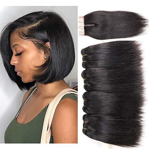 Peiyulex Brazilian Straight Hair 4 Bundles with Closure 9A Grade Unprocessed Virgin Brazilian Human Hair Weave Bundles with top Lace Closure Natural Black