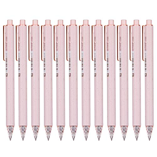 RIANCY Wheat-Straw Patterns Retractable Gel Pens Fine Points, 0.5 mm,12-Pack, Black Ink Ballpoints Pen Black Gel Pens Quick Dry Ink Smooth Writing Pen for Office School(Pink)