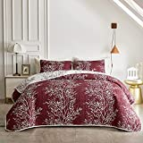 3 Piece Reversible Quilt Set Red Branch Queen Size 88x88 Soft Microfiber Lightweight Coverlet Bedspread Summer Comforter Set Bed Cover for All Season (1 Quilt+ 2 Shams)