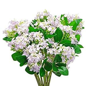 LSME 2 Bouquet Artificial Syringa Lilac Flower Bouquet with Stem and Green Leaves Arrangement Table Centerpiece Wedding Party Decor