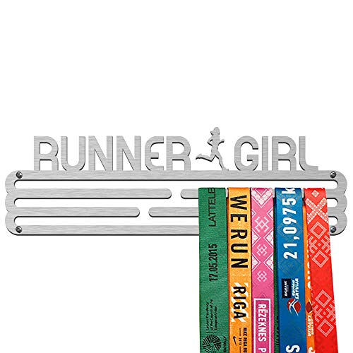 United Medals Runner Girl Colgador de medallas   Medallero Acero   Medal Holder dispaly Hanger   Medalla Percha (30 medallas)