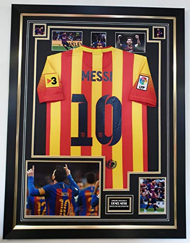 www.signedmemorabiliashop.co.uk NIEUW LIONEL MESSI van Barcelona Ondertekende foto met Shirt Display