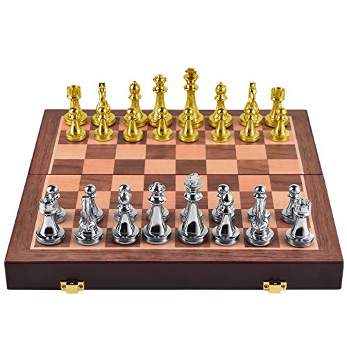 Agirlgle Metal Chess Set for Adults and Kids – Deluxe Chess Board with Chess Pieces – Travel Wooden Chess Set with Metal Pieces – Folding Chessboard – Ideal for Beginners and Professional Players