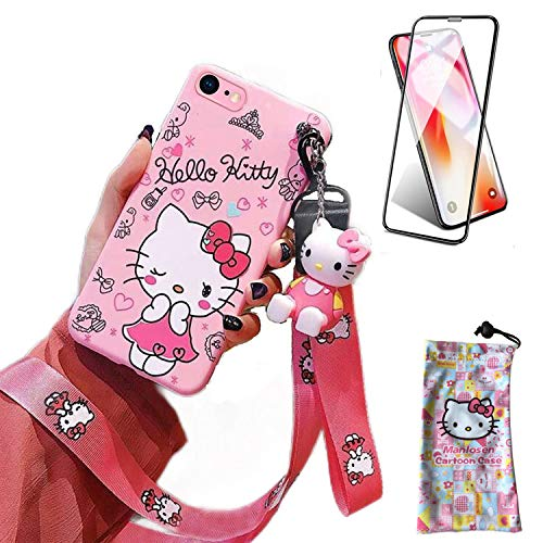 iPhone 7 Case/iPhone 8 Case/SE 2020 Case with HD Screen Protector, Cute Cartoon 3D Animal Character Kitty Silicone Lanyard Protective Apple iPhone Case 4.7 Inch Kawaii Cover Case for Kids Girls