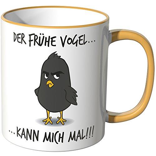 Wandkings® Tasse, Spruch: Der frühe Vogel kann mich mal … - MOTIV 2 - DUNKELGELB