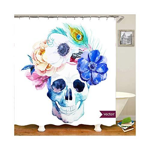 Daesar 3D Anti Schimmel Duschvorhang 90x180 cm Blume Totenkopf Duschvorhang Waschbar aus Polyester-Stoff