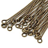 Choupee Eye Pins 288 Pieces Flat Eye Headpins for Jewelry Making (Bronze)
